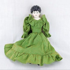 Antique German Porcelain Doll with Fabric Body